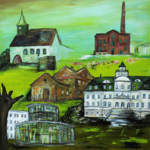 Das Gemälde Ludwigsfelde zeigt einige Wahrzeichen der Stadt in Grüntönen wie das Rathaus, die Dorfkirche, das Schloss Genshagen