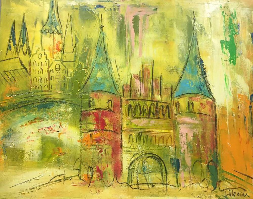 Das Bild zeigt eine abstrakte Impression vom Holstentor der Hansestadt Lübeck mit einigen weiteren angedeuteten Gebäuden im Hintergrund in Grün- und Gelb-Tönen mit Akzenten in Rosa, Orange, Rot und Blau.