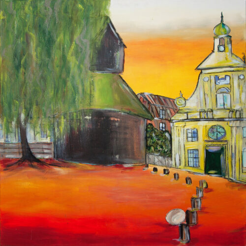 Das Gemälde Abendsonne am Kran Lüneburg von Karin Greife zeigt Lüneburg Wasserviertel mit Alter Kran, Altes Kaufhaus, Weide und im Hintergrund Viskulenhof. Warme Farben, Gelb-, Orange- und Rot-Töne werden ergänzt durch angenehme Grün-Töne. Romantische Sonnenuntergangsstimmung.