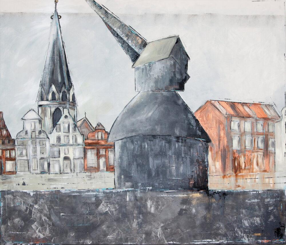 Das Gemälde Alter Kran Lüneburg zeigt den Alten Kran Lüneburg mit Viskulenhof und St. Nicolaikirche im Hintergrund - in gedeckten Farben: Grau, Kupfer, Weiss, Schwarz. Reduzierter, minimalistischer Stil.