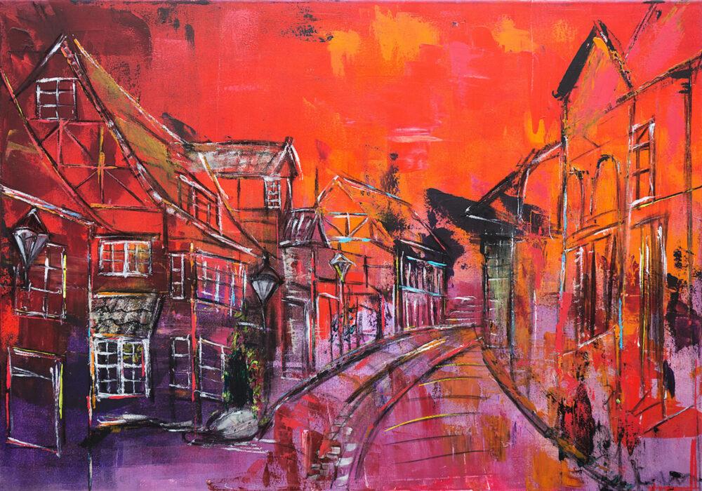 Das Gemälde Auf dem Meere Lüneburg zeigt die Strasse Auf dem Meere in der Lüneburger Altstadt in Rottönen, die typischen kleinen verwinkelten Altstadthäuschen in der Strasse die zur St. Michaeliskirche führen, abstrahiert und mit Schwung gemalt, typisch für die Pinselführung der Künstlerin Karin Greife