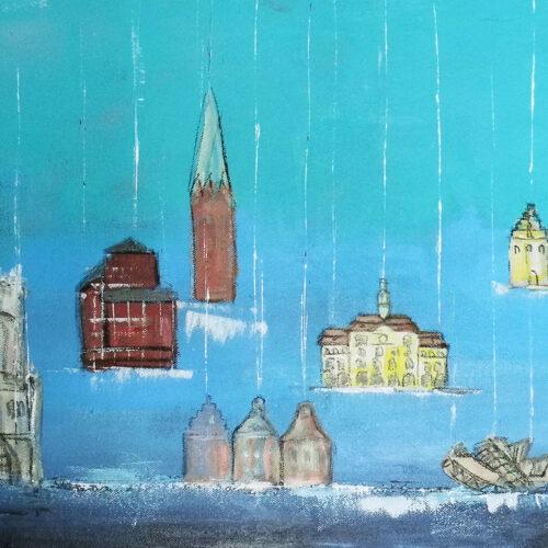 Das Gemälde Lüneburg auf Salz gesetzt von Karin Greife zeigt einige der schönsten historischen Bauten der Hansestadt Lüneburg vor blauem Himmel. Sie werden an Fäden heruntergelassen auf eine von Salz bedeckte Oberfläche. Das Bild symbolisiert den durch Salzabbau erworbenen Reichtum der alten Hansestadt. Gezeigt werden die Gebäude Alter Kran, Altes kaufhaus, Wasserturm, Lösecke-Haus, Nicolaikirche, Rathaus, Hansegieblhäiuser, Libeskind-Bau, Michaeliskirche, Johanniskirche. Naive Malerei.