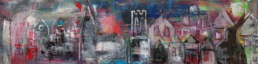Gemälde Lüneburg bei Nacht. Impression einer Nachtszene in Lüneburg mit einer Anordnung von Gebäuden wie Johanniskirche, Wasserturm, Alter Kran, Hansegiebelhäuser. Die Farben sind zwar gedeckt, werden aber fröhlich aufgelockert durch rote, rosa, lila und grüne Elemente.