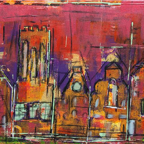 Auch als Lüneburg Kunstdruck im Online Shop von Karin Greife. Gemälde Lüneburg beleuchtet. Abstrakte Impression einiger Lüneburger Wahrzeichen (Kirchen, Wasserturm, Hansegieblhäuser) in Rot- und Orange- und Lila-Tönen. Es wirkt, als seien die Gebäude und Fenster beleuchtet.