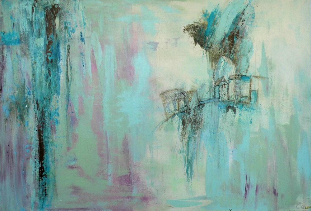 das Gemälde Lüneburg-Wasser - Heilige Drei Könige - Bergstroem - Hotel Lüneburg ist ein sehr reduziertes, abstrahiertes Gemälde der Malerin Karin Greife in Mint- und Rosa. Es zeigt angedeutet das Lüneburger Wasserviertel inmitten von Wasserstrudeln.