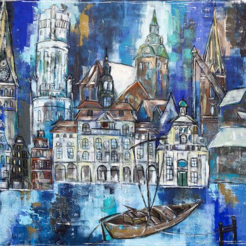 Auch als Lüneburg Kunstdruck im Online Shop von Karin Greife. Das Gemälde Boot und Stadt Lüneburg zeigt das Panorama von Lüneburg mit den wichtigsten Wahrzeichen in Blautönen, akzentuiert mit Türkis, Braun, Weiss und Ocker. Man sieht die Johanniskirche, den Wasserturm, das Rathaus, die Michaeliskirche, das Alte Kaufhaus, die Nicolaikirche, den Alten Kran, den Ewer im Vordergrund sowie einige Hansegiebelhäuser.