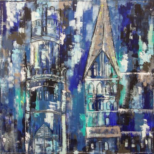 Gemälde Lüneburg Gegenüber, abstrakte Impression der beiden bekanntesten Gebäude in Lüneburg am Platz Am Sande Wasserturm und St Johanniskiche im abstrakten Stil in Blautönen