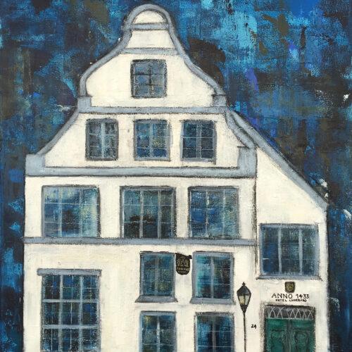 Das Gemälde Anno 1433 Hotel Lüneburg zeigt das historische Haus der Familie Blancke in der Lüneburger Salzstrasse von außen in Blau- und weißtönen