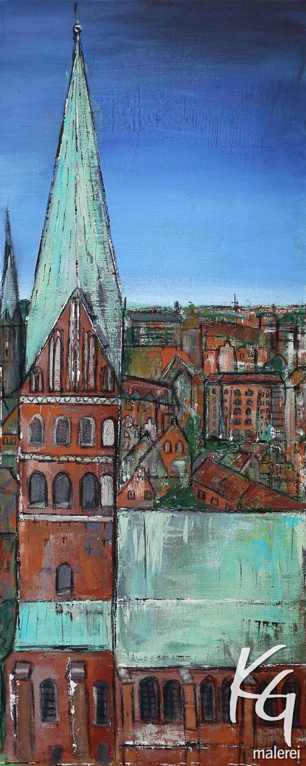 Das Gemälde St. Johanniskirche Lüneburg zeigt Die Johanniskirche Lüneburg in natürlichen Farben vor blauem Himmel. Die Backsteingiebel der Häuser im Hintergrund sind typisch für die Hansestadt Lüneburg.