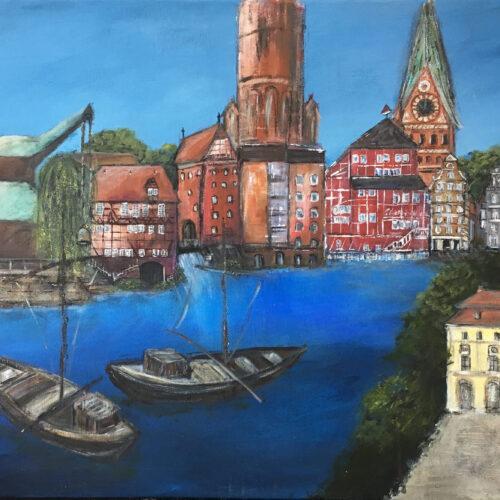Das Bild zeigt die wichtigsten Wahrzeichen der Lüneburger Innenstadt, die man bei einem Stadtrundgang erleben kann: Wasserviertel mit Altes Kaufhaus und Alter Kran, Ewer, Weide, Mühle, Hochzeitsturm, Löseckehaus und Brausebrücke, dann der Wasserturm, die Johanniskirche, das Rathaus mit Markplatz und Brunnen mit der Luna, Michaeliskirche und einige typische Hansegiebelhäuser. Es ist in natürlichen Farben gemalt: Blau, Rot, Grün, Braun, Beige, Weiss, Gelb.