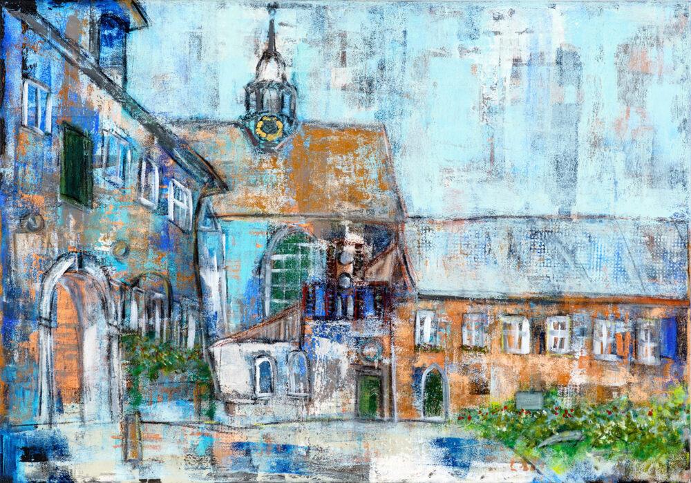Das Gemälde Kloster Lüne zeigt eine verträumte Impression des Klosters Lüne mit der Klosterkirche in Lüneburg an einem Sommertag nach dem Regen in Blautönen. Man spürt die Atmosphäre nach einem erfrischenden Regen.