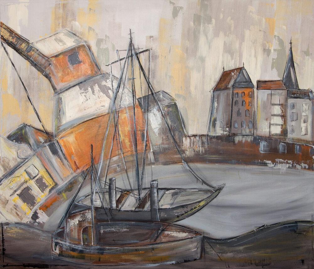 Das Gemälde Lüneburg Kranszenerie zeigt den Alten Kran und das Lüneburger Wasserviertel in gedeckten Farben Orange, Beige, Braun, Grau, die in rundlicher Form angeordnet sind.