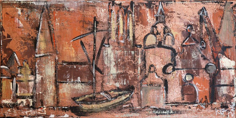 Das Gemälde Kupferdächer Lüneburg zeigt die Wahrzeichen der Hansestadt Lüneburg in Kupfertönen und Brauntönen im abstrakten Stil: Ewer, Wasserturm, Alter Kran, Altes Kaufhaus, Hansegiebel