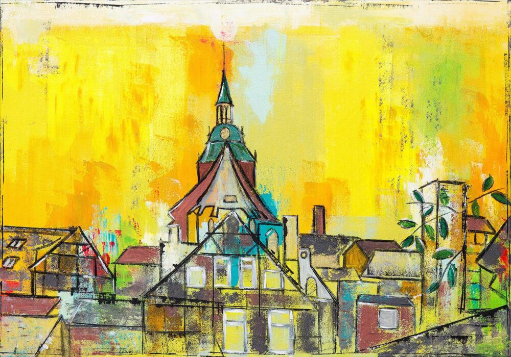 Das Gemälde Lüneburg Michaelis Hinterhofblick zeigt den Blick von der Lüneburger Salzstrasse auf die Michaeliskirche und mehrere Altstadthäuser in Gelbtönen mit farbenfrohen Akzenten. Es ist typisch für Karin Greife im Detail reduziert, der Himmel ist sonnengelb, die mittelalterlichen Häuser strahlen. Vorne rechts sieht man grüne Blätter.