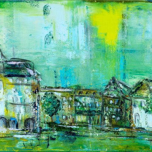 Das Gemälde Rathaus und Markt Lüneburg grün zeigt Das Bild zeigt den Lüneburger Marktplatz in Grün-Tönen und Akzenten in Gelb, Ocker, Weiß und Schwarz. Dargestellt sind das Rathaus, das Heinrich-Heine-Haus, das Landgericht mit angrenzendem Gefängnisgebäude für Untersuchungshaft. Weitere Gebäude sind angedeutet.