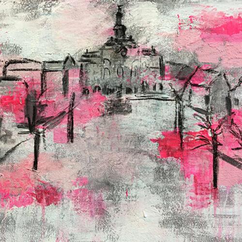 Gemälde Lüneburg rosarot. Auch als Lüneburg Kunstdruck im Online Shop von Karin Greife.