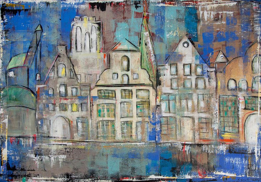 Das Gemälde Salzstadt Lüneburg blau ist eines der bekanntesten Werke der Lüneburger Malerin Karin Greife. Es zeigt Einige Wahrzeichen Lüneburgs (Alter Kran, Stintmarkt-Häuser, Wasserturm, Mühle, Johanniskirche) in angenehmen Blautönen mit Türkis, Weiss, Ocker, Braun und Schwarz. Vieles wurde abstrahiert und angedeutet, trotzdem erkennt der Betrachter sofort die Szenerie.