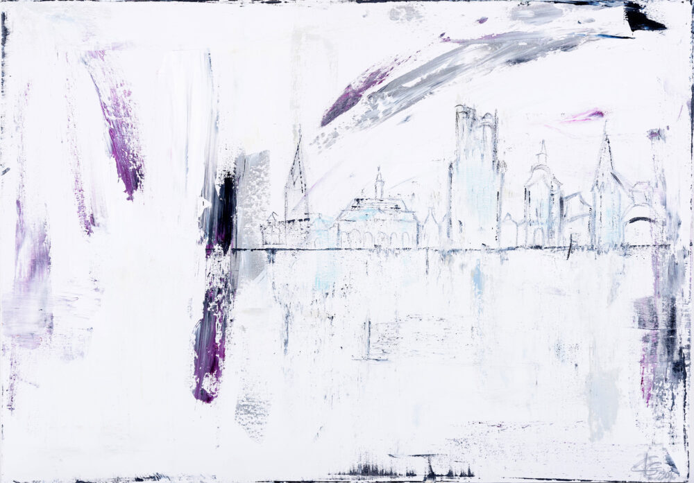 Das Gemälde Lüneburg Skyline von Karin Greife ist in Weißtönen reduziert und abstrahiert und zeigt die Skyline von Lüneburg mit den wichtigsten Wahrzeichen.