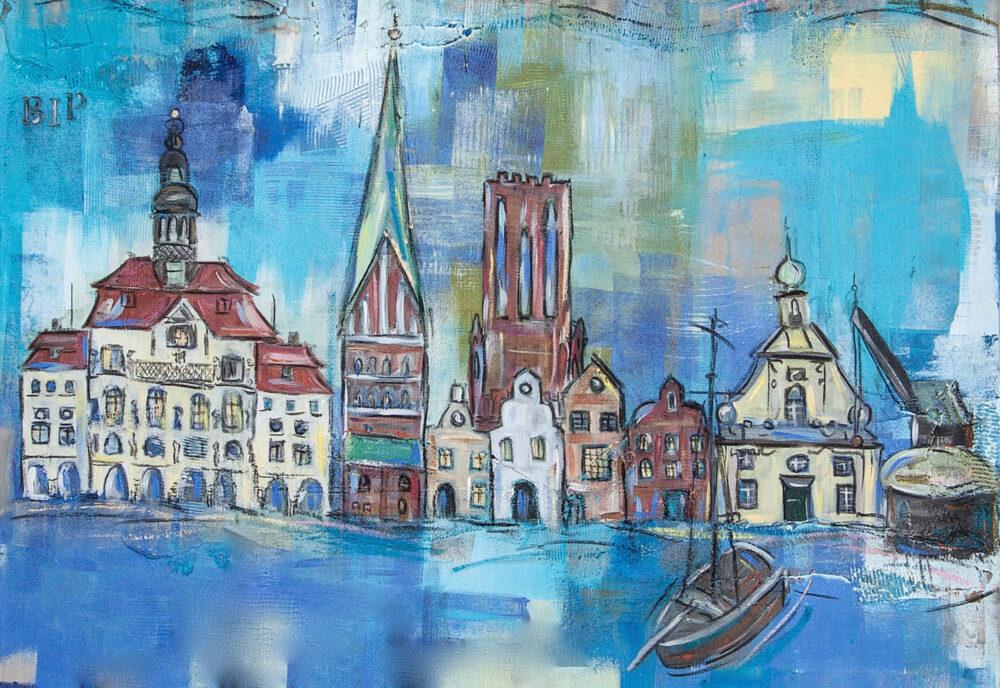 """Das Bild zeigt einige der Wahrzeichen von Lüneburg als Skyline in schönen Blautönen. Man sieht das Alte Kaufhaus, den Alten Kran, das Rathaus, den Ewer und verschiedene Hansegiebelhäuser. Ausschnitt aus dem Gemälde """"BIP Deutschland"""" aus dem Jahr 2013"""