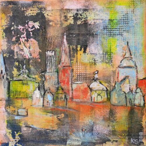 Das Gemälde Sonne über Lüneburg zeigt einige typische Wahrzeichen der Hansestadt Lüneburg wie das Alte Kaufhaus, den Alten Kran, das Lüneburger Rathaus oder die St. Michaeliskirche sowie einige typische Hansegiebelhäuser in sehr abstrahierter Form und in gedeckten Tönen.