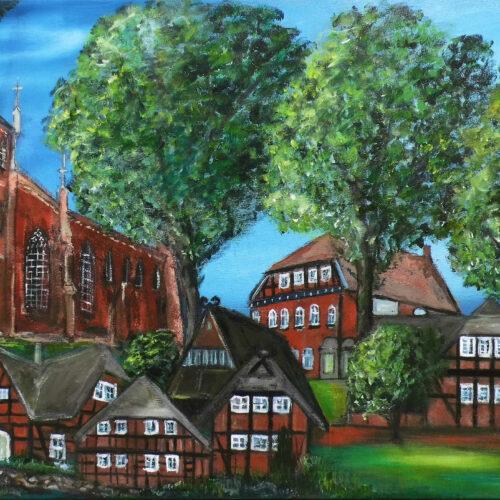 Das Gemälde des Ortes St. Dyonis, Ortsteil Barum, bei Lüneburg zeigt die St.-Dionysius-Kirche und einige typische Heidehäuser mit Fachwerk und Reetdach zur Sommerzeit unter Bäumen in natürlichen Farben