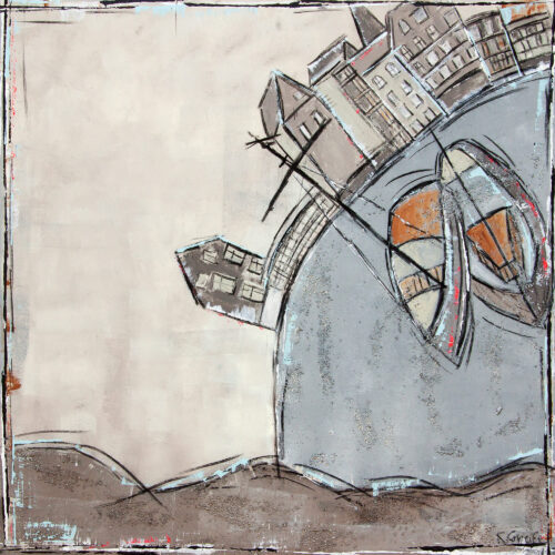 Das Bild zeigt das Lüneburger Wasserviertel mit der Brausebrücke, der Mühle, dem Hochzeitsturm und einem Teil der Stintgebäude sowie den beiden Ewer im Vordergrund in gedeckten Grau- und Brauntönen, leicht akzentuiert mit Hellblau und Pink. Im Hintergrund ist die Johanniskirche, im unteren Bereich des Bildes sind Wellen angedeutet. Das Gemälde entspricht nicht der Realität, trotzdem erkennt man die Szenerie sofort.