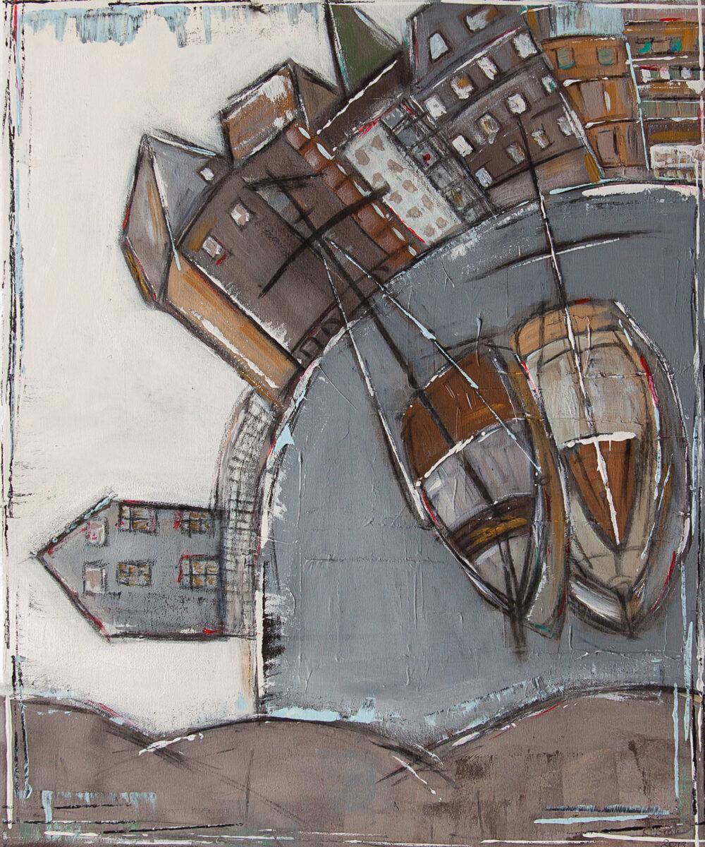 Das Gemälde Lüneburg Stintmarkt zeigt das Wasserviertel in runder Form und in gedeckten Braun- und Grautönen. Die Ewer, die Brausebrücke, die Ilmenau. Abstrahiert und reduziert im typischen Stil der Malerin Karin Greife.