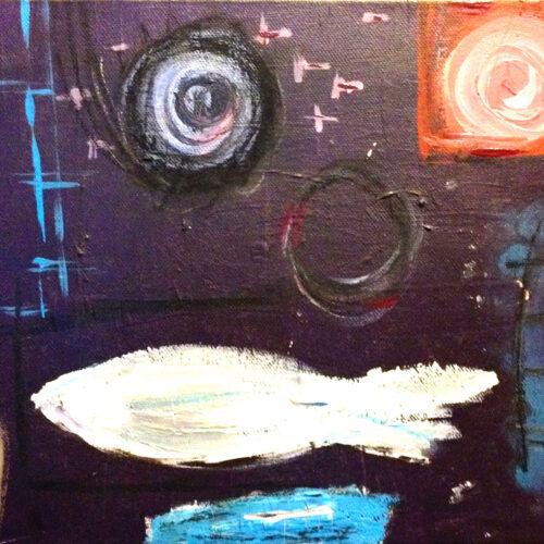 Das Gemälde Stintmarkt abstrakt zeigt den Stintmarkt von oben mit Symbolen im sehr abstrahierten Stil