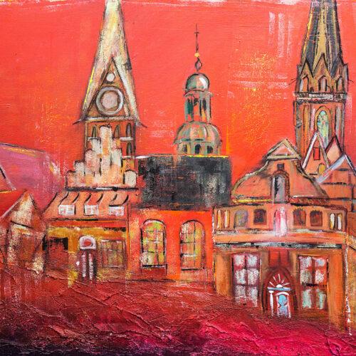 Das Acryl-Gemälde Lüneburg Sundowner von Karin Greife zeigt einige Wahrzeichen der Stadt Lüneburg in warmen Rot-Tönen. Gebäude des Stintmarktes reihen sich an die zwei Kirchen Nicolai und Johannis, außerdem sind die Kuppel des Rathauses und einige Altstadthäusergiebel zu sehen. In der Realität stehen diese Gebäude so nicht zusammen, trotzdem erkennt man sofort die Hansestadt Lüneburg.