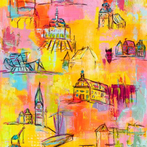 """Gemälde Lüneburg Tourist zeigt auf buntem Hintergrund einige Wahrzeichen der unter anderem aus der ARD-Telenovela """"Rote Rosen"""" bekannten Hansestadt Lüneburg: Johanniskirche, Platz am Sande mit Hansegiebelhäusern, Michaeliskirche, Rathaus, Libeskind-Bau, Altes Kaufhaus, Nicolaikirche, Alter Kran, Mühle im Wasserviertel. Das sind die wichtigsten Gebäude, die ein Lüneburg-Tourist beim Rundgang durch die Innenstadt Lüneburgs zu sehen bekommt."""