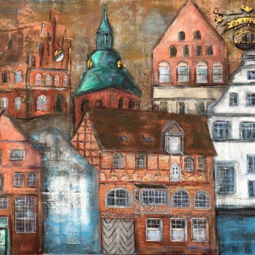 Das Gemälde Übernachtung in Lüneburg ist ein Bild von einigen der schönsten Gebäude der Lüneburger Altstadt in Brauntönen mit Blau, Türkis, Weiss, Gold und Kupfer. Fachwerkhäuser, Giebelhäuser, Michaeliskirche, Hotel Anno 1433. Historische Gebäude im Besitz der Familie Blancke mit Familienwappen in Gold inmitten der Lüneburger Altstadt direkt neben der St. Michaeliskirche.