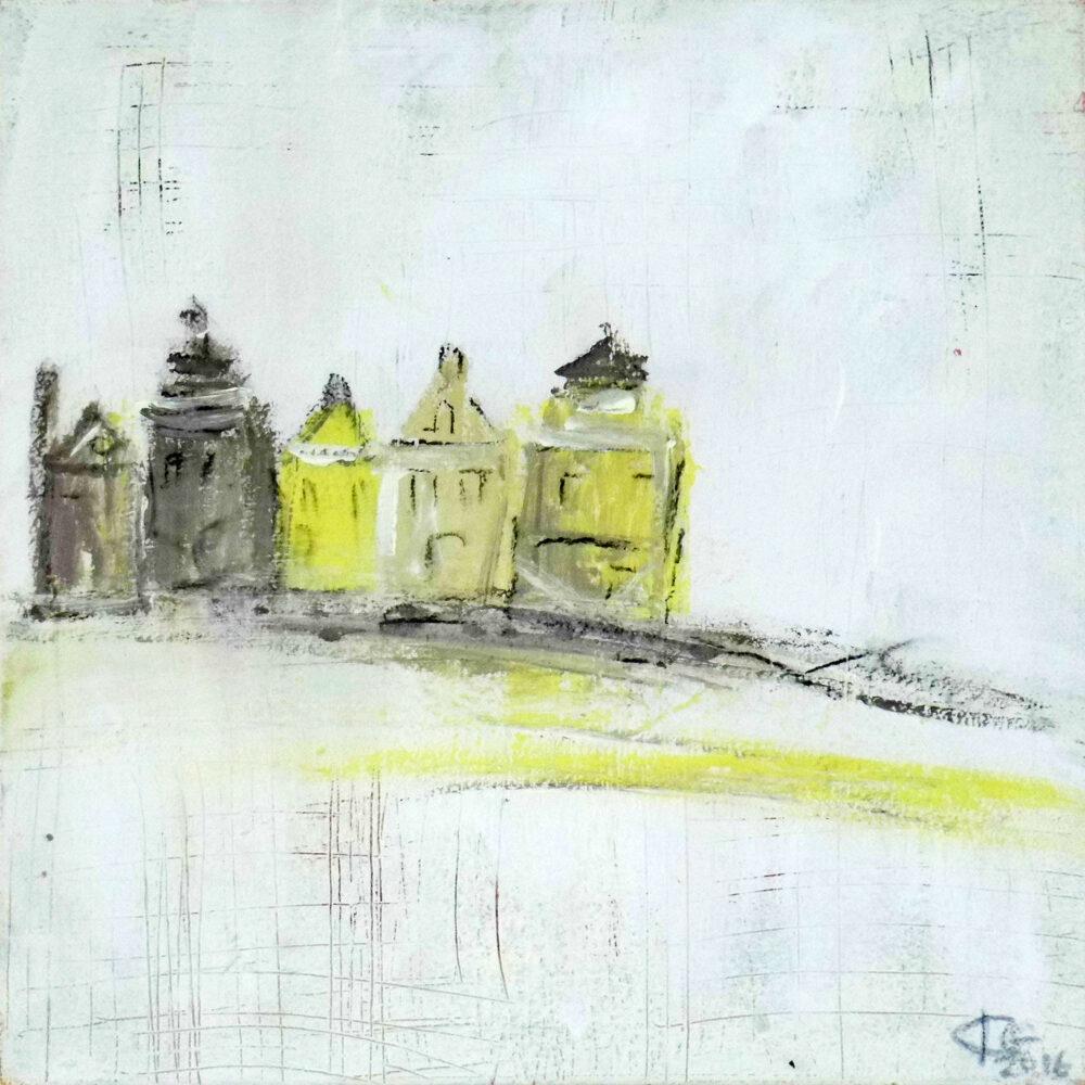 Das Gemälde Lüneburg unvollendet zeigt auf in gedeckten Farben einige Giebelhäuser der Hansestadt Lüneburg.