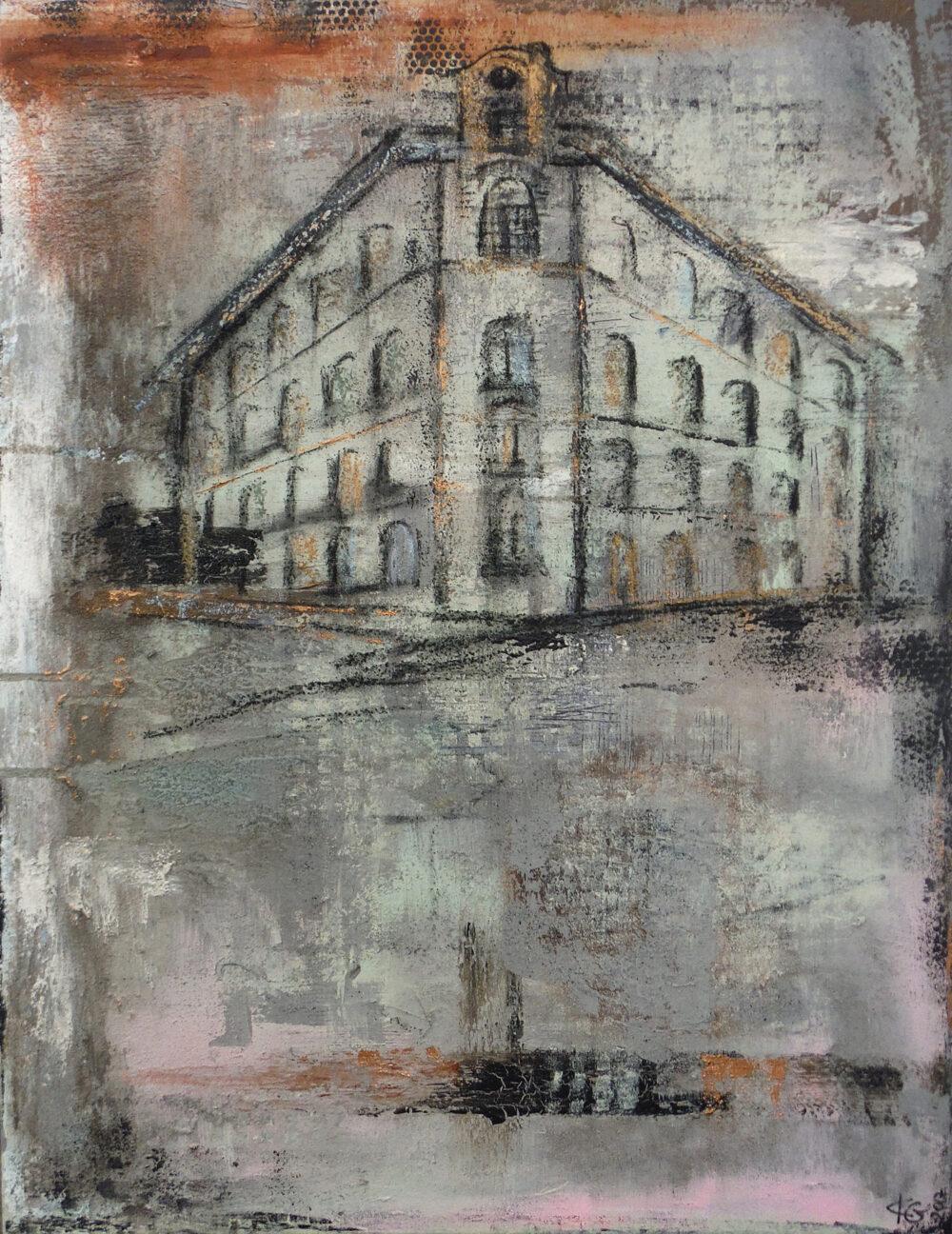 Das Gemälde Viscule-Lüneburg zeigt eine Ecke des historischen Viskulenhofs Lüneburg vor der Modernisierung in gedeckten Farben im Industrial-Style, abstrahiert.