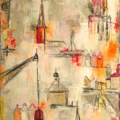 """Das hochformatige Gemälde """"Remember Lüneburg"""" von Karin Greife aus dem Jahr 2020, im Original auf 70 x 100 cm Leinwand zeigt einige der wichtigsten Wahrzeichen Lüneburgs in abstrahierter Form und hellen Tönen (weiss, elfenbein, kieselgrau, orange, rot, rosa, hellgrün). Zu sehen sind in Ausschnitten die Michaeliskirche, das Kloster Lüne, die Nicolaikirche, der Wasserturm, Giebelhäuser Am Sande, das Alte Kaufhaus, der Alte Kran, der Rathausplatz, Stintmarkthäuser und die Johanniskirche. Zart und wirkungsvoll mit wenigen kräftigen Akzenten. Passt als Druck auf Leinwand wunderbar zu fast allen Einrichtungsstilen und Hintergrundfarben."""