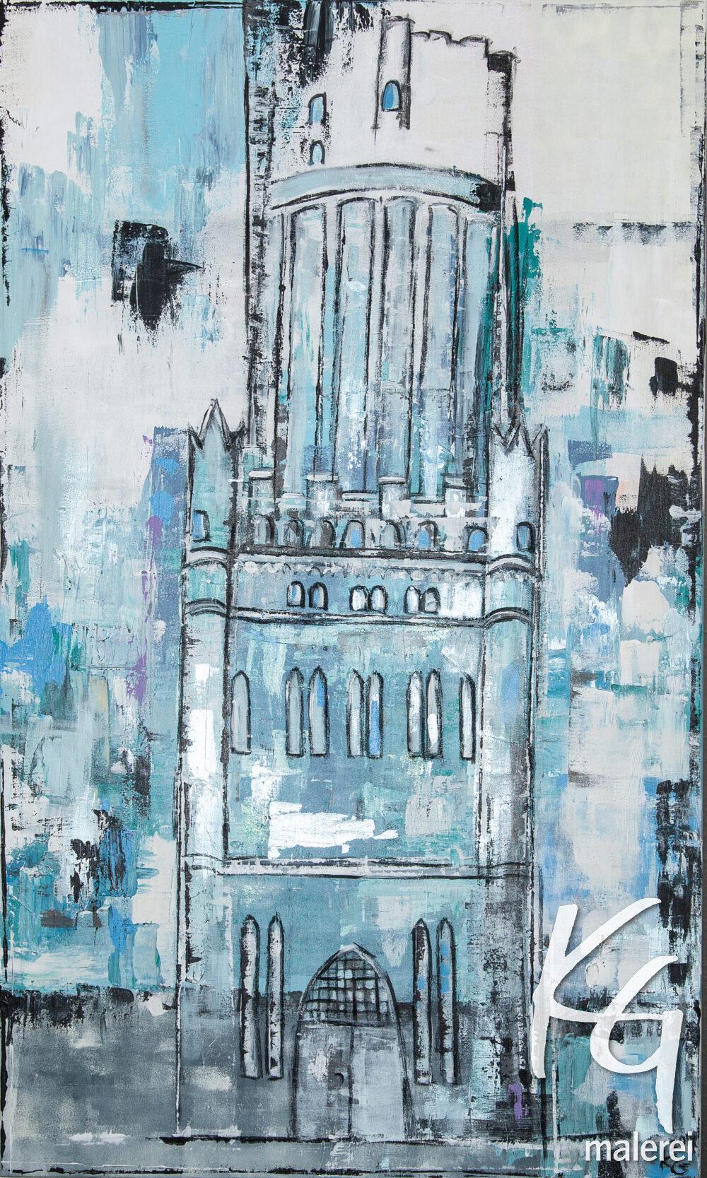 Das Gemälde Wasserturm Lüneburg zeigt den Lüneburger Wasserturm im für die Künstlerin Karin Greife typischen abstrahierten Stil in Blau- und Weißtönen.