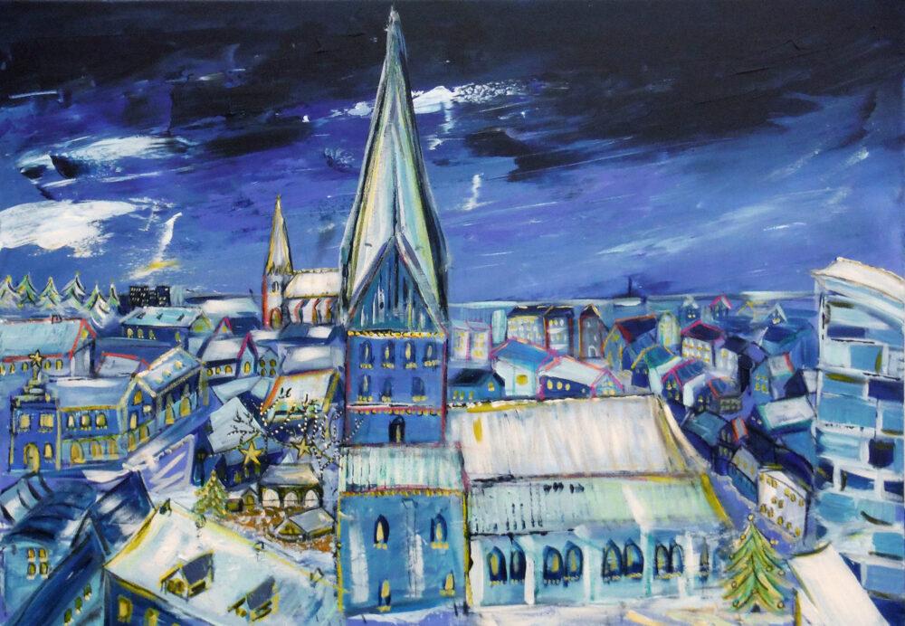 Das Gemälde Lüneburger Weihnachtslichter zeigt unaufdringlich und in angenehmen Blautönen Lüneburg zur Weihnachtszeit mit dem jährlich stattfindenden Weihnachtsmarkt an der St. Johanniskirche. Der Blickwinkel ist von der Plattform des Wasserturmes. Dargestellt ist die Sicht von dort über die Stadt über den Sande bis zur Nicolaikirche und die Stadtgrenze im Norden.