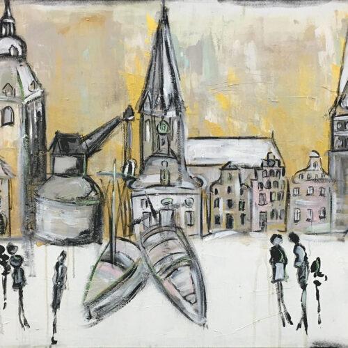 Gemälde Lüneburg Winterleben. Das Bild zeigt die Lüneburger Wahrzeichen Rathaus, Michaeliskirche, Alter Kran, Nicolaikirche, Altes Kaufhaus, Hansegiebel-Häuser des Platzes Am Sande, Johanniskirche, Wasserturm, Ewer und Libeskind-Zentralgebäude der Leuphana-Universität an einem Wintertag in leuchtenden Farben. Die Häuser sind schneebedeckt, der Himmel leuchtet golden. In der Farbe Rosa wurden Akzente gesetzt. Vorne im Bild sind in schwarz und grau Personen in Bewegung skizziert/ angedeutet. Die Atmosphäre ist fröhlich.