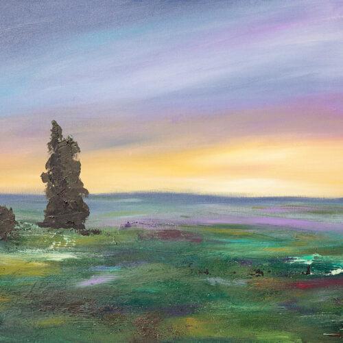 Das Gemälde Sommerabend in der Lüneburger Heide zeigt die Heidelandschaft, Lüneburger Heide mit Wacholderbusch bei Sonnenuntergang, Impression. Farben: grün, gelb, lila, blau, dunkelrot.