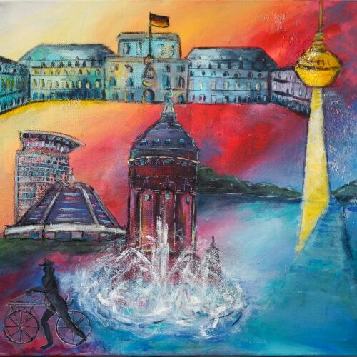 """Das Gemälde """"Mannheim"""" zeigt die Wahrzeichen der deutschen Stadt Mannheim in angenehmen Blau-, Rot,- und Gelbtönen. Mannheimer Wasserturm, Barockschloss Mannheim, Fernmeldeturm Mannheim, Planken, Planetarium Mannheim und weiteres"""