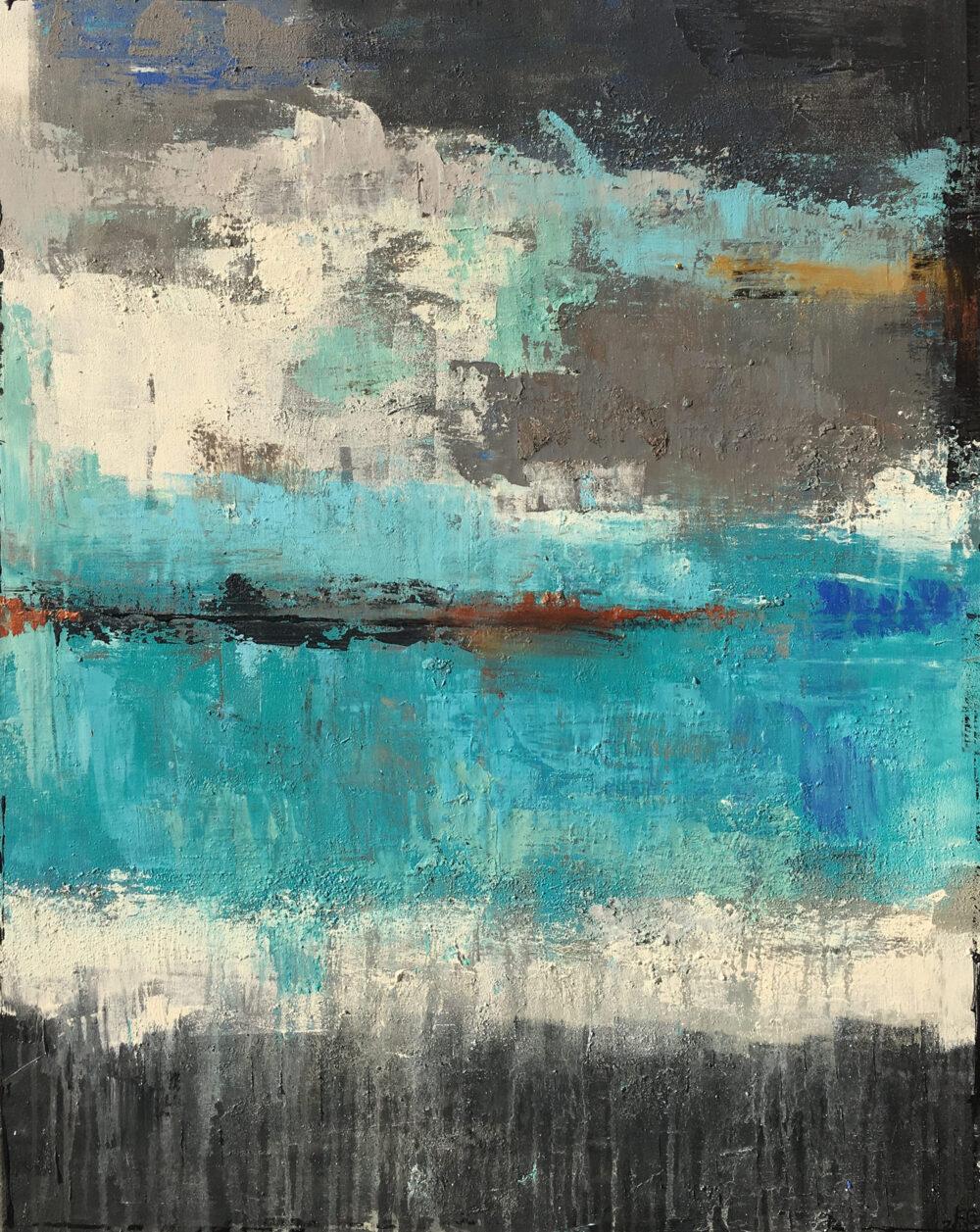 Das abstrakte Gemälde Meeresleuchten zeigt einen wolkenverhangenen Himmel über dem blauen Ozean