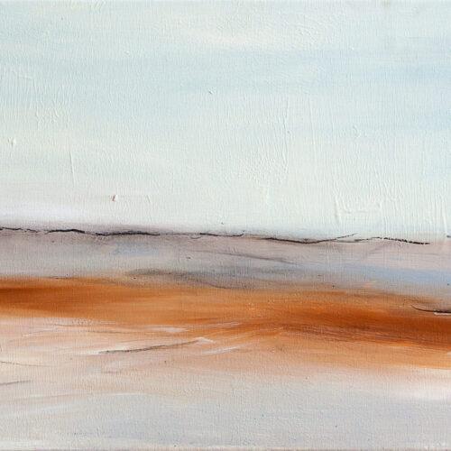 Das Gemälde zeigt eine maritime Landschaft mit Leuchtturm in reduziertem Stil und sanften, hellen Tönen.