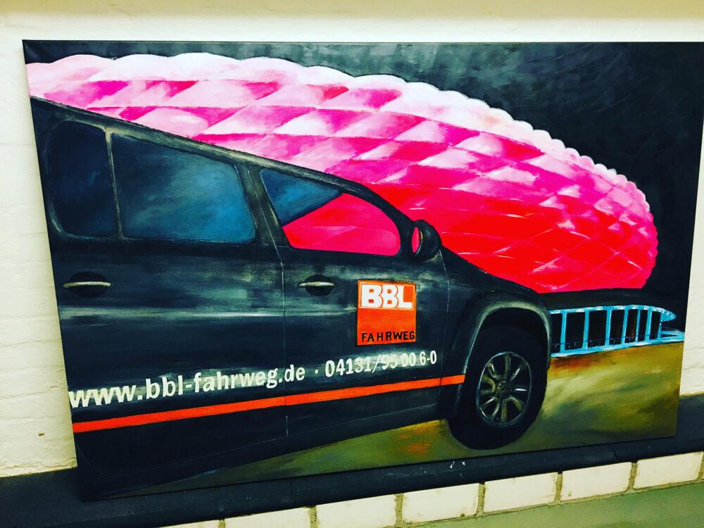 Gemälde BBL Banhnbau Fahrweg München Allianz Arena