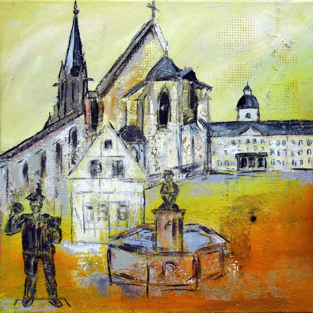 Gemälde Neureut-Karlsruhe mit einigen Wahrzeichen in den Farben des Stadtwappens: Schloss Karlsruhe, Brunnen, Kirche