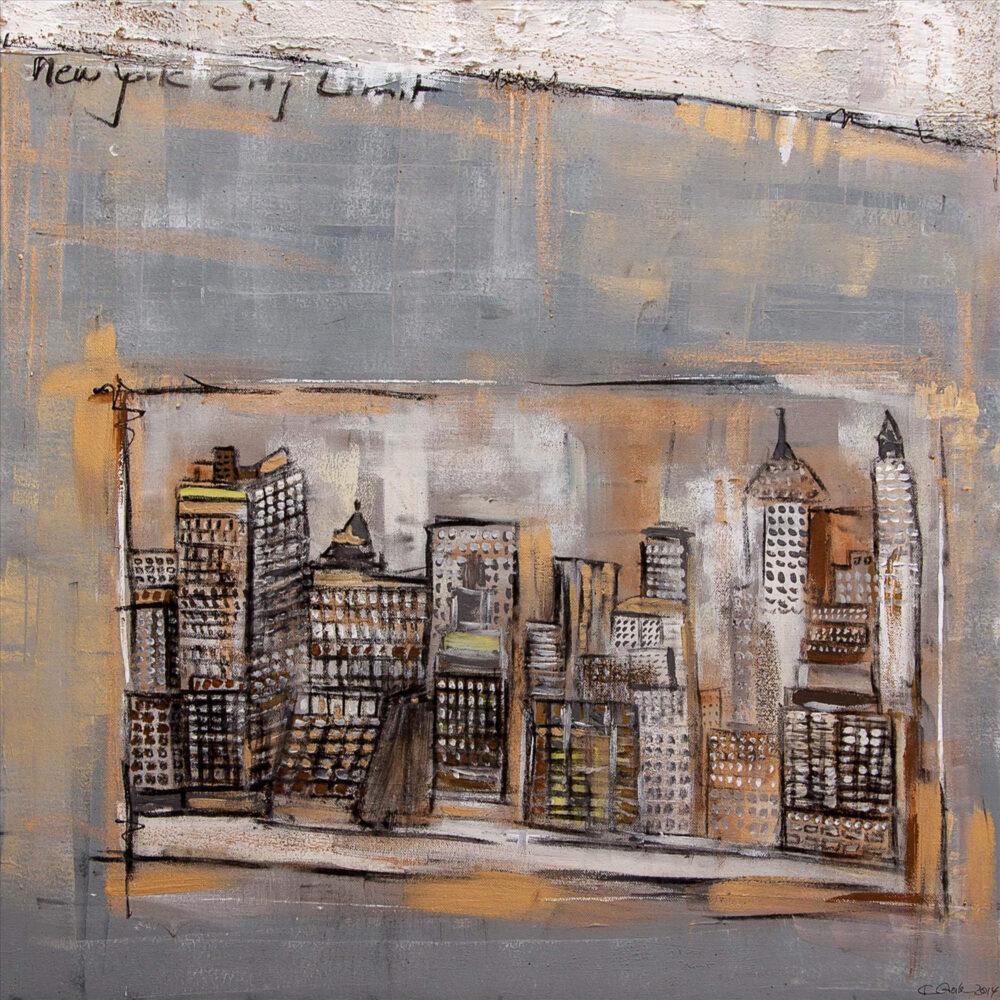 """Impression von Wolkenkratzern in New York als Bild im Bild in gedeckten Farben wie Grau, Ocker, Gold und Schwarz. Die Skyline ist im Bild abgegrenzt und umrandet, der Hintergrund grau, akzentuiert mit Ocker und Gold. Am oberen Rand wurde mit Spachteltechnik ein weißer Streifen gezogen, darunter steht """"New York City Limit"""""""