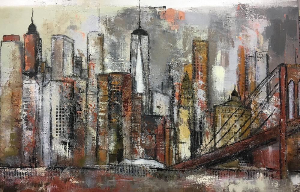 Das Gemälde New York Manhattan mit Brooklyn Bridge zeigt das Panorama vom Stadtteil Manhattan in New York mit der Brooklyn Bridge und den Hochhäusern und Wahrzeichen der Metropole in angenehmen gedeckten Tönen wie Sienna, Ocker, Grau, Gelb, Braun, Kupfer, Weiß, Steingrau, Kieselgrau und Schwarz.