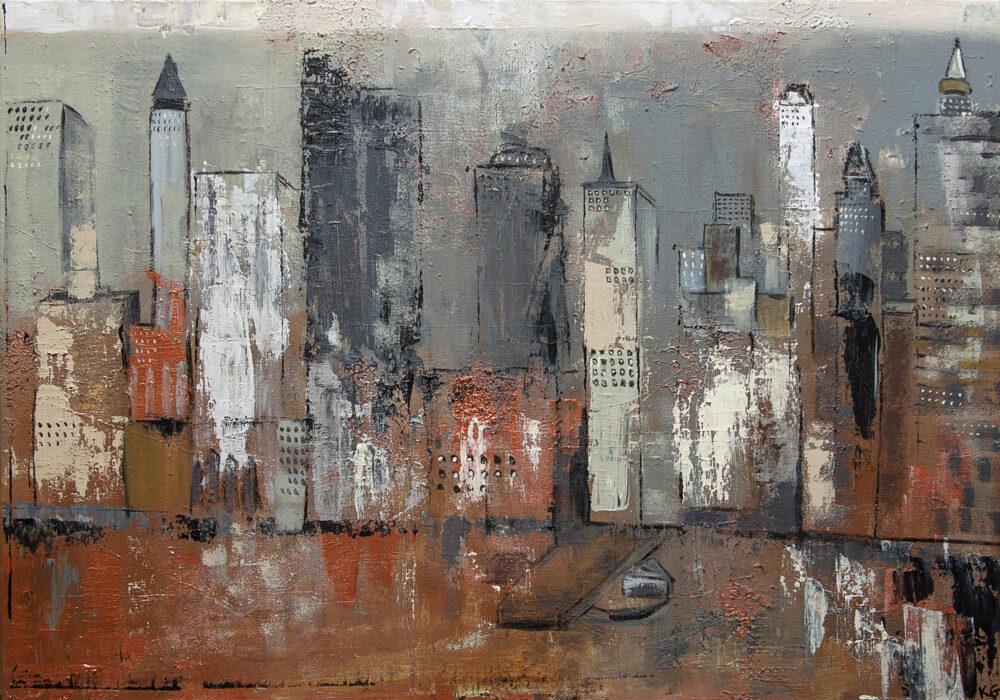 Impression der New York Midtown Skyline über den Hudson River in angenehmen gedeckten Braun-, Beige-, Kupfer und Grautönen mit schwarzen Akzenten im abstraktem Stil. Entspricht in den Details nicht der Realität, die Szenerie ist trotzdem für den Betrachter sofort zu erkennen.