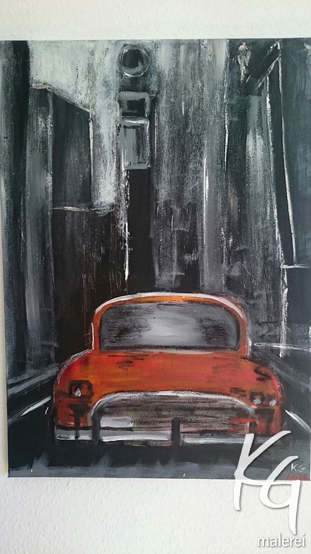 Das Gemälde New York Taxi zeigt ein orangerotes Taxi vor einer dunklen Hochhäuserschlucht mit hellem Mond am Nachthimmel