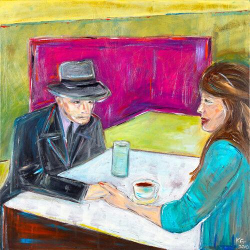 Das Bild zeigt eine Caféhaus-Szene in ausdrucksvollen Farben. Ein Mann mit grauen Hut, Anzugsjacke und Krawatte und eine Frau mit mittelbraunen langen Haaren und sitzen sich an einem Tisch gegenüber und halten sich an der Hand. Sie schaut ihn an und lächelt, er schaut etwas abwesend auf den Tisch. Auf dem Tisch stehen ein Glas und eine Kaffeetasse mit Untertasse. Der Hintergrund ist in den Farben Grün-Gelb und Pink abstrahiert dargestellt.