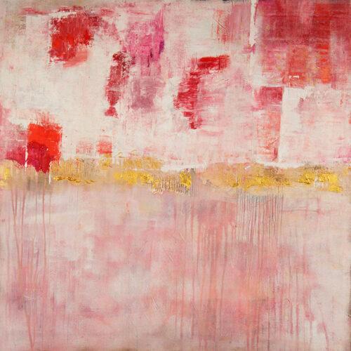 Das Gemälde Redrose zeigt mittig eine goldene Fläche, unten auf einer altrosa Fläche verläuft Farbe, oben sind rote, rosa, pinkfarbene und orange Flächen mit auf weissem Hintergrund aufgetragen
