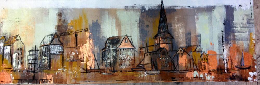Gemälde Rostock im Herbst, Erdtöne, kupfer, Backstein, Wahrzeichen der Hansestadt, Hafen, Segelschiffe, Neuer Markt, Steintor